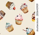 watercolor cupcake seamless... | Shutterstock .eps vector #283643909