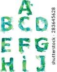alphabet   hand drawn blue... | Shutterstock .eps vector #283645628