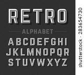 retro style alphabet vector... | Shutterstock .eps vector #283654730