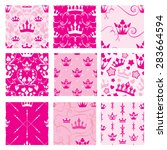 Set Of Pink Backgrounds With...