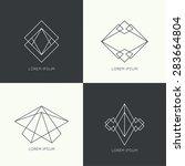 set of vector hipster logo ... | Shutterstock .eps vector #283664804