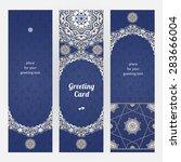vintage ornate cards in eastern ... | Shutterstock .eps vector #283666004