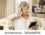 unhappy retired senior woman... | Shutterstock . vector #283668056