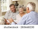 retired senior couple sitting... | Shutterstock . vector #283668230