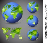 set of the world globes. world... | Shutterstock .eps vector #283670699