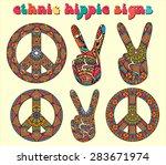 hippie style. ornamental... | Shutterstock .eps vector #283671974