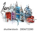 visiting london | Shutterstock .eps vector #283672280