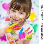 portrait of a cute cheerful... | Shutterstock . vector #283674788