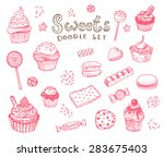 hand drawn sweets doodle... | Shutterstock .eps vector #283675403
