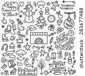 winter holidays thin line icons ... | Shutterstock .eps vector #283677488