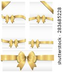 gold ribbon banners   set of 5... | Shutterstock .eps vector #283685228