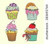 delicious yummy vector cupcakes ... | Shutterstock .eps vector #283692764