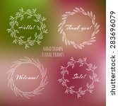set of floral wreathes on a... | Shutterstock .eps vector #283696079