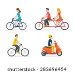 cyclists riding bike set... | Shutterstock .eps vector #283696454
