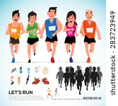 happy runner group with running ... | Shutterstock .eps vector #283723949