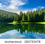 lake near the pine forest in mountains in morning light - stock photo