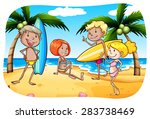 people with surfboard hanging...   Shutterstock .eps vector #283738469