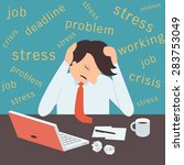 stressed businessman  sitting...   Shutterstock .eps vector #283753049