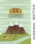 summer camp card design. vector ...   Shutterstock .eps vector #283777319