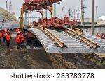 construction of the railway. | Shutterstock . vector #283783778