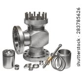 Small photo of Raw industrial valve and parts/Stainless steel valve with parts dismounted/Stainless steel gas valve, industrial