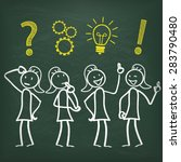 blackboard with 4 female... | Shutterstock .eps vector #283790480