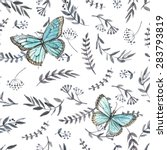 Stock vector monochrome watercolor floral seamless with butterflies hand painting watercolor seamless pattern 283793819