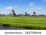 wind mills in zaanse schans ... | Shutterstock . vector #283798646
