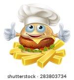 cartoon chef burger mascot...