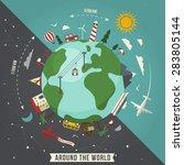 around the world travel... | Shutterstock .eps vector #283805144