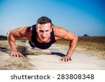 athlete outside in nature on a... | Shutterstock . vector #283808348