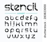 spray painted stencil alphabet... | Shutterstock .eps vector #283823000