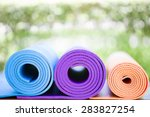yoga mats on the table in a... | Shutterstock . vector #283827254