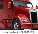 red heavy truck   crop shot | Shutterstock . vector #283845524
