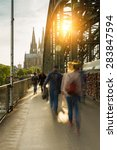 Small photo of Hohenzollern Bridge at sunset with padlocks and cathedral in cologne, germany