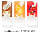 three fruit and milk banners.  | Shutterstock . vector #283855508