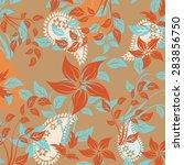 seamless pattern flower    Shutterstock .eps vector #283856750