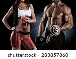 athletic man and woman with a... | Shutterstock . vector #283857860