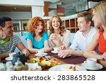 portrait of happy teenage... | Shutterstock . vector #283865528