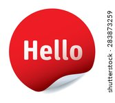 red vector sticker text hello | Shutterstock .eps vector #283873259