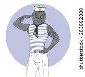 nautical poster furry art  hand ... | Shutterstock .eps vector #283882880