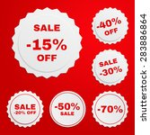 set of discount paper badges on ... | Shutterstock .eps vector #283886864