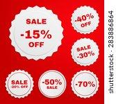 set of discount paper badges on ... | Shutterstock .eps vector #283886864