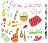 picnic objects for romantic... | Shutterstock .eps vector #283888040