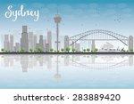 Sydney City Skyline With Blue...
