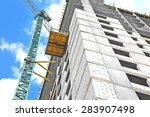 crane and building construction ...   Shutterstock . vector #283907498
