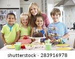group of children standing with ... | Shutterstock . vector #283916978