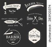 vintage barber shop logo set ... | Shutterstock .eps vector #283920374