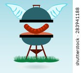 barbecue wings. grilled... | Shutterstock .eps vector #283941188