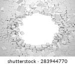 breaking wall brick 3d image | Shutterstock . vector #283944770
